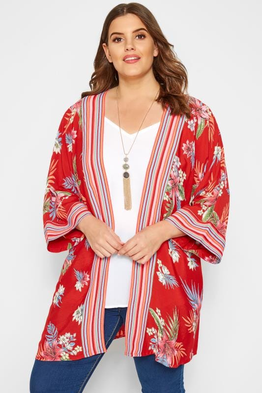 Plus Size Blouses & Shirts Red Tropical & Striped Kimono