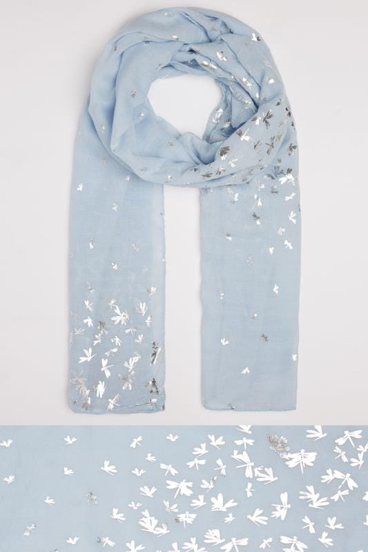 Pale Blue Foil Print Dragonfly Scarf