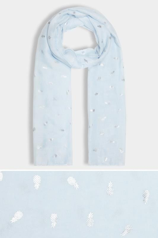 Pale Blue Pineapple Print Scarf