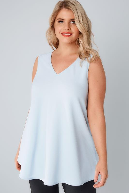 Pale Blue Sleeveless Swing Top