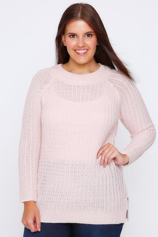 Pale Pink Cable Knit Long Sleeve Jumper