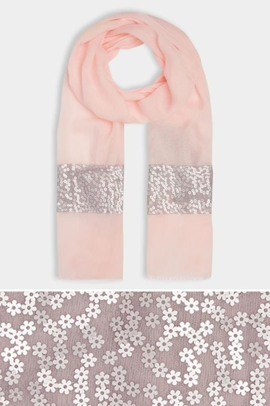 Pale Pink Scarf With Silver Flower Sequins