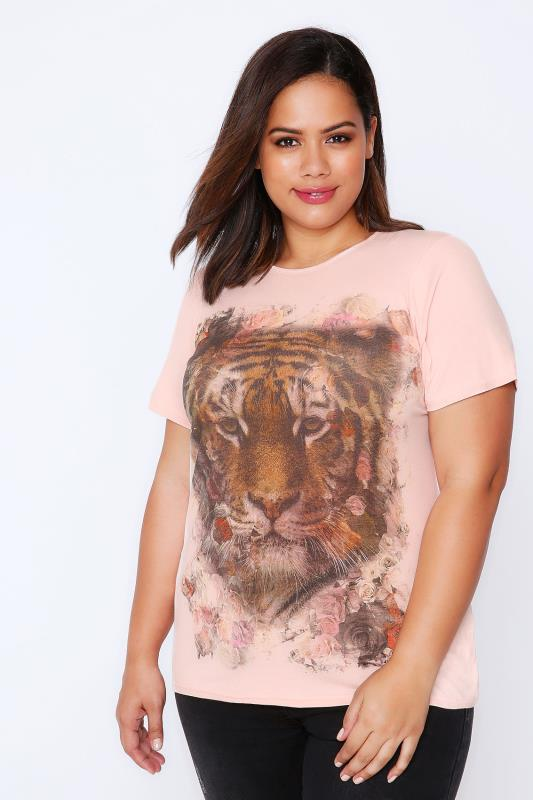 Pale Pink Short Sleeved T-Shirt With Tiger Print