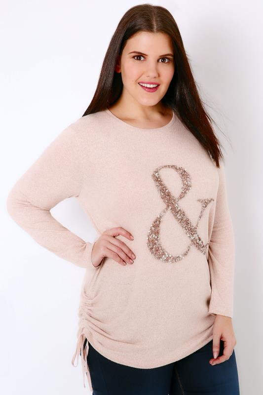 "Pale Pink Knitted Top With Sequin ""&"" Detail & Ruched Sides"