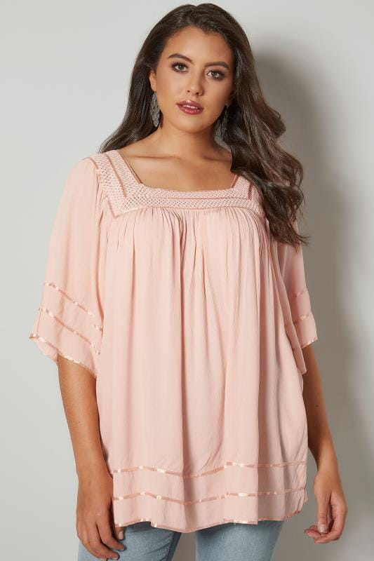 Plus Size Blouses Pale Pink Tipped Blouse With Crochet Neckline