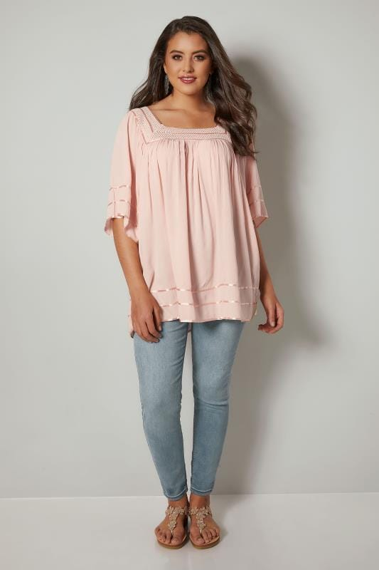 Pale Pink Tipped Blouse With Crochet Neckline