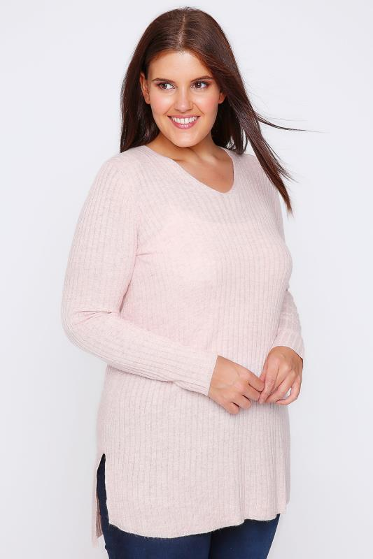 Pale Pink Wool Blend Ribbed Jumper With Side Slit Detail