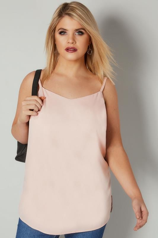 Vests & Camis Pale Pink Woven Cami Top With Side Splits 130261