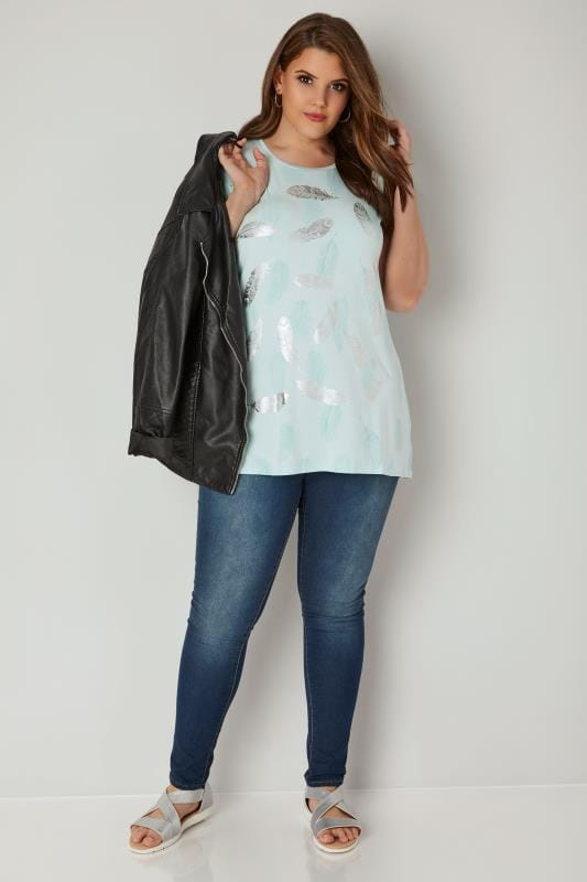 Pale Turquoise Foil Feather Print T-Shirt