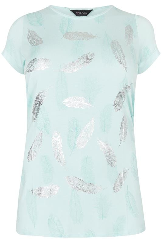 Pale Turquoise Foil Feather Print T Shirt Plus Size 16 To 36