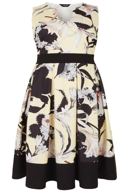 Pale Yellow Floral Print Skater Dress