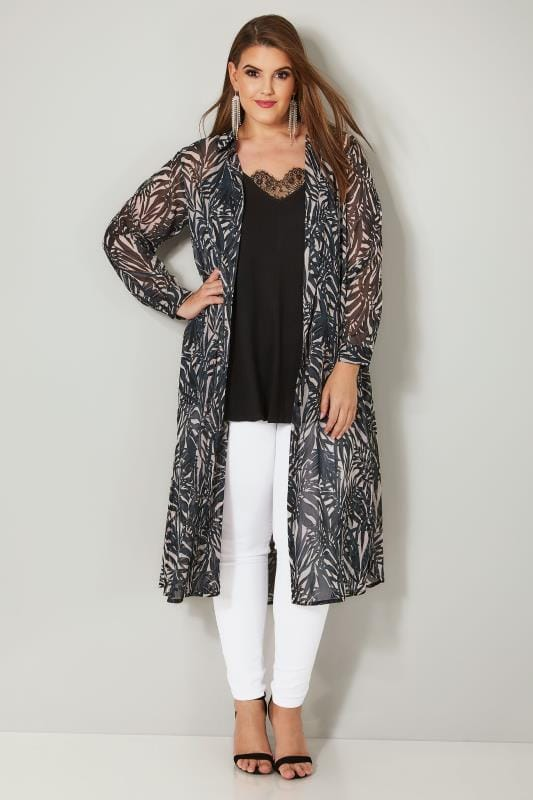 YOURS LONDON Black & White Palm Print Chiffon Maxi Shirt