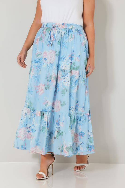 Plus Size Maxi Skirts Pastel Blue & Multi Floral Print Tiered Maxi Skirt