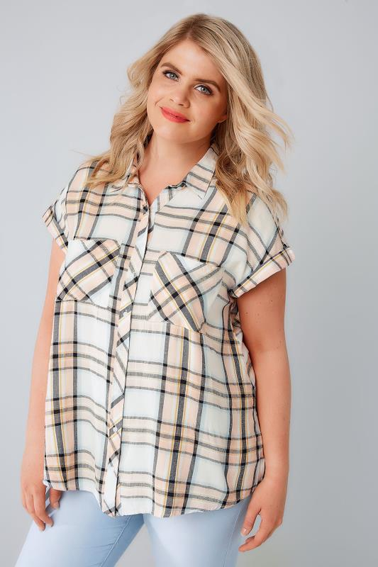 Blouses & Shirts Pastel Checked Shirt With Short Grown-On Sleeves 130049