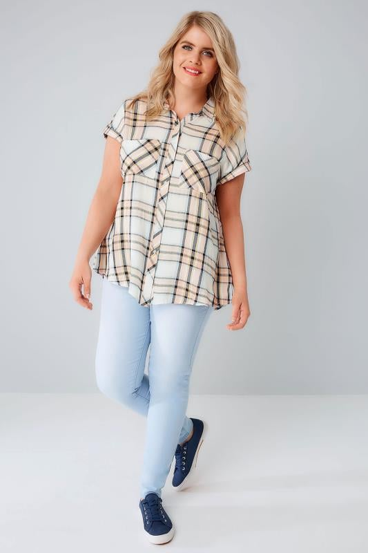 Pastel Checked Shirt With Short Grown-On Sleeves