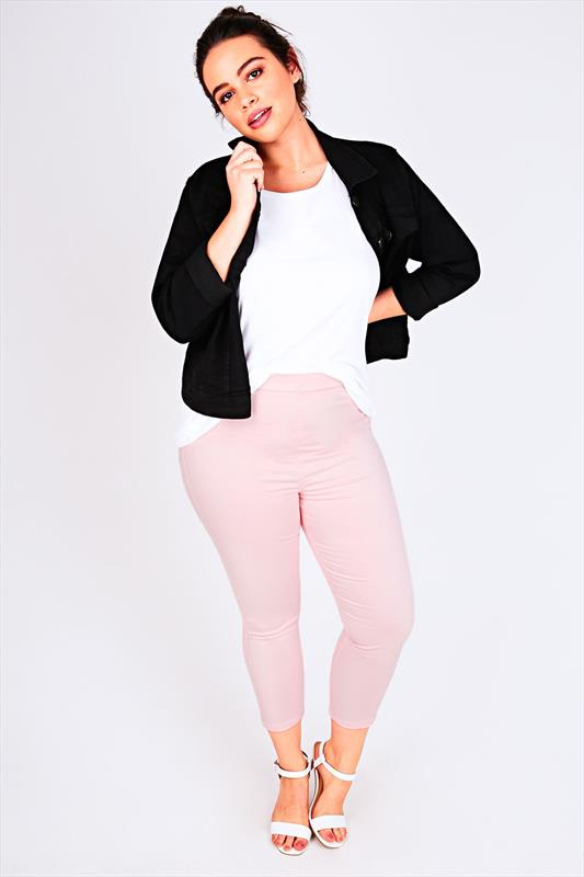 Pastel Pink Pull On Stretch Cropped Jeggings