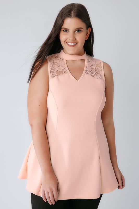 Pastel Pink Peplum Choker Top With Lace Panel