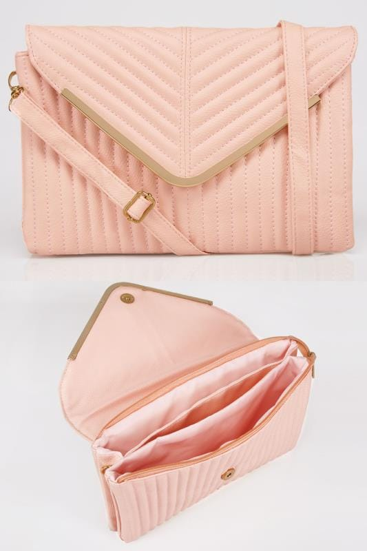 Pastel Pink Textured Shoulder Bag With Detachable Straps