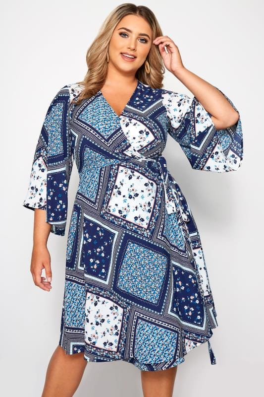 Plus Size Wrap Dresses YOURS LONDON Blue Floral Patchwork Wrap Dress