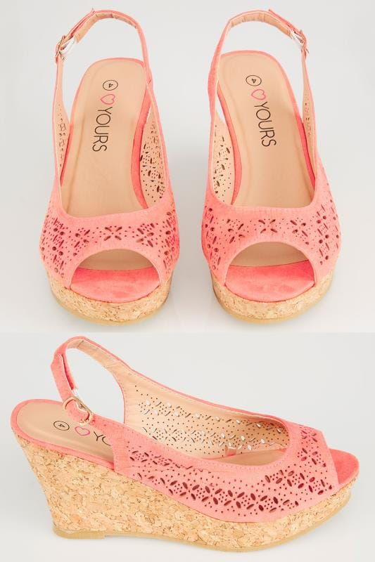 Wide Fit Wedges Peach COMFORT INSOLE Laser Cut Slingback Wedge Sandal In EEE Fit