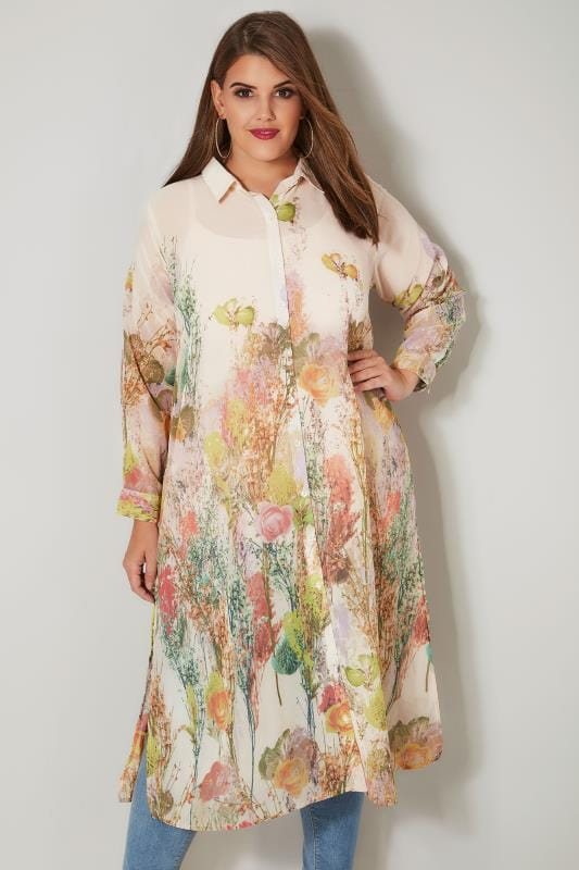 Plus Size Shirts Peach & Multi Floral Chiffon Maxi Shirt