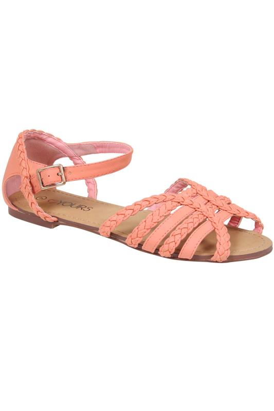 Peach Plaited Strap Sandal In EEE Fit