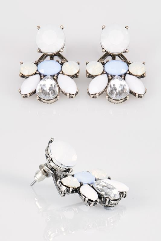 Plus Size Earrings Pearl & Blue Statement Stone Earrings