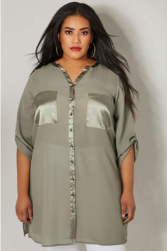 YOURS LONDON Grey Chiffon Blouse With Satin Trim