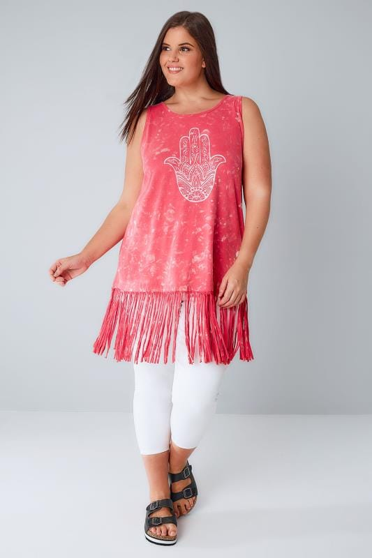 Pink Acid Wash Longline Top With Peace Palm Print & Tassel Hem