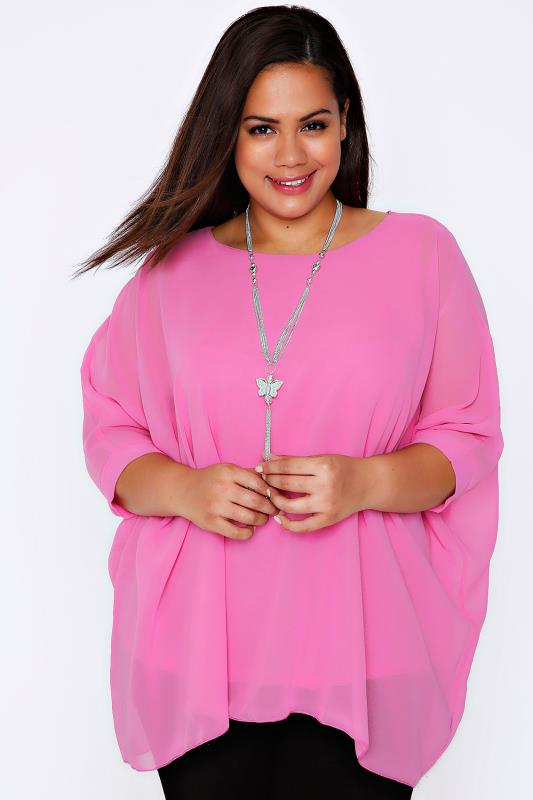 Pink Batwing Sleeve Chiffon Top With Necklace