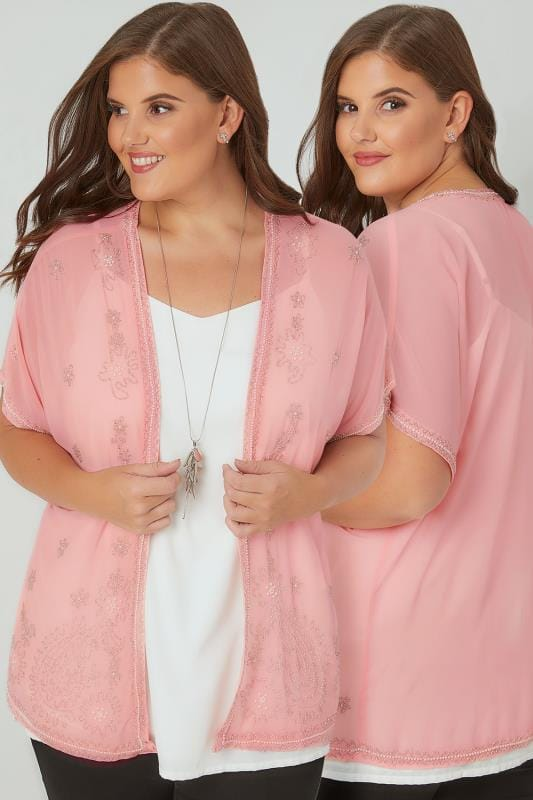 Plus Size Cover Ups Pink Bead Embellished Chiffon Sheer Kimono Cover-Up