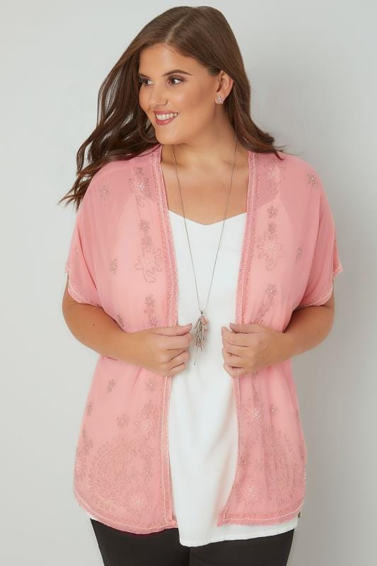 Pink Bead Embellished Chiffon Sheer Kimono Cover-Up