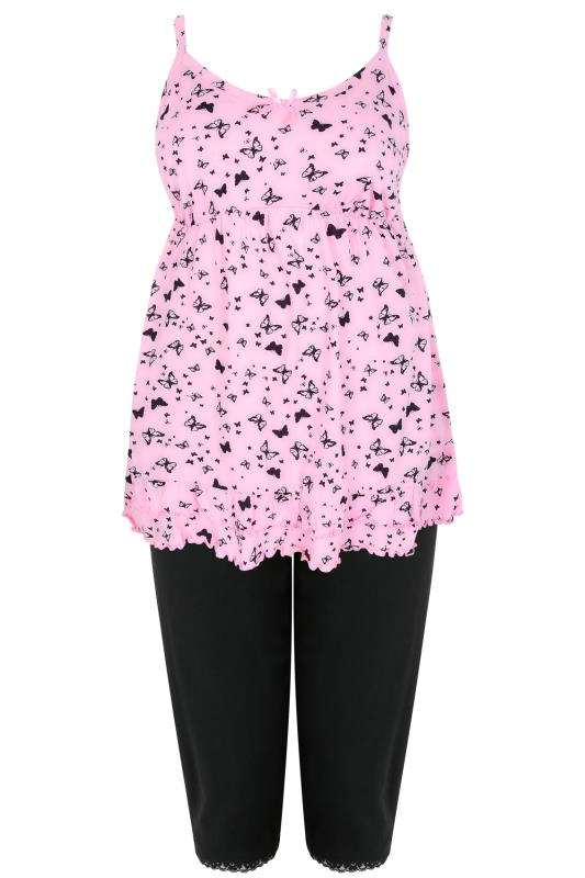 Pink & Black Butterfly Print Pyjama Top & Cropped Bottoms