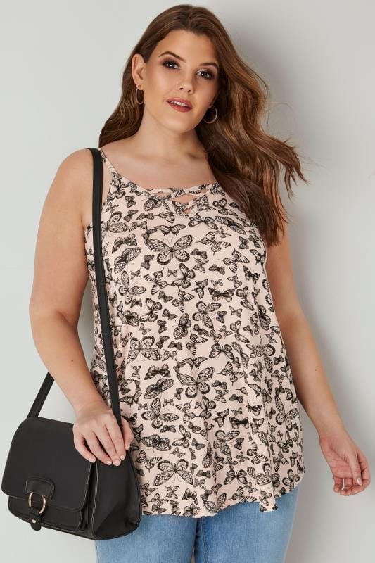 Plus Size Vests & Camis Pink & Black Butterfly Vest Top With Cross Front Detail