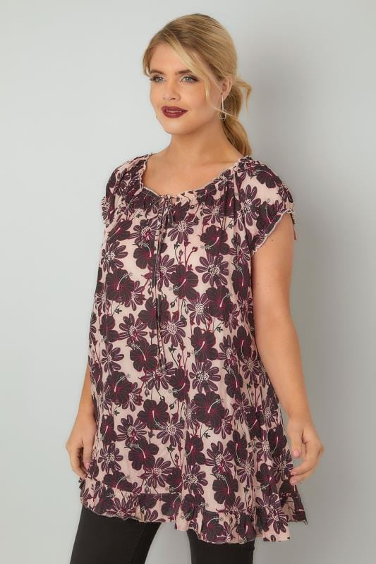 Pink & Black Floral Print Gypsy Top With Frill Hem & Tie Neck