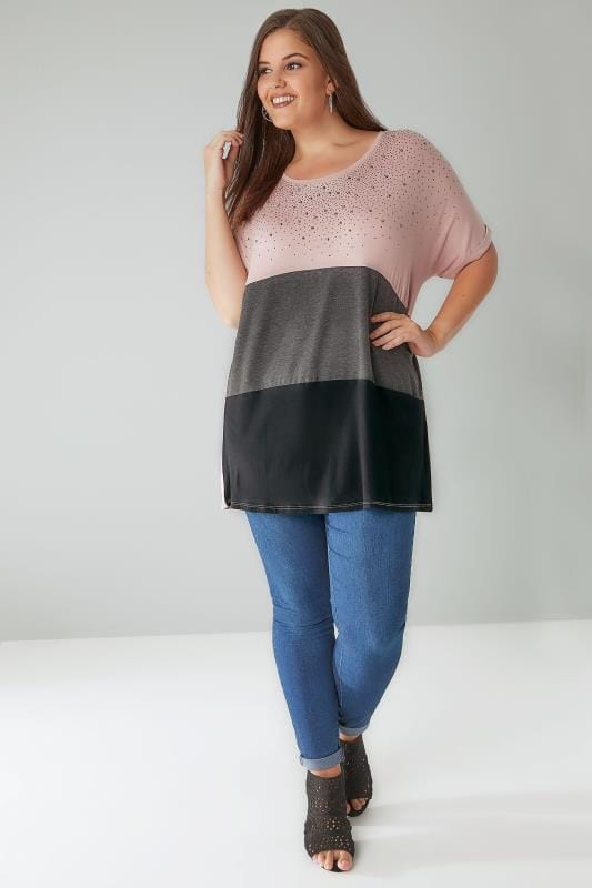 Pink, Black & Grey Colour Block Top With Gem Embellishment