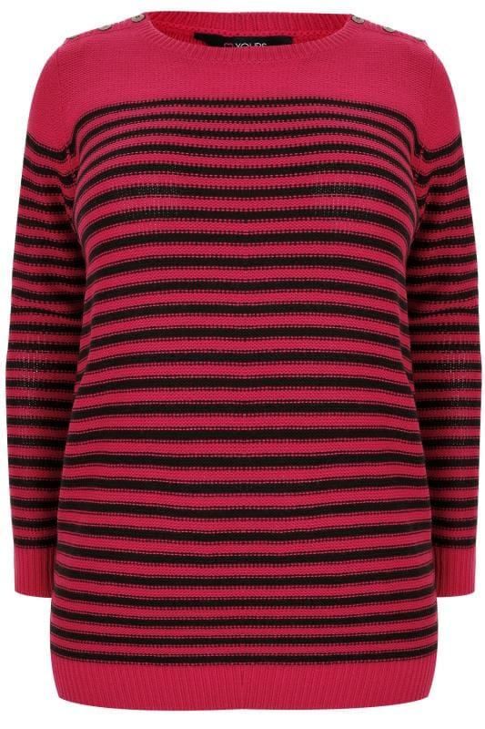 Pink & Black Textured Striped Jumper With Mock Button Fastenings