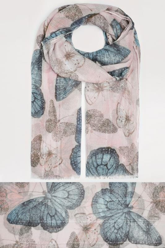 Pink & Blue Butterfly Print Scarf With Sequin Stripes