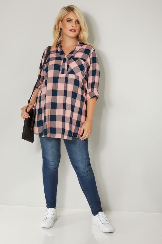 Pink & Blue Check Overhead Shirt With Metallic Thread