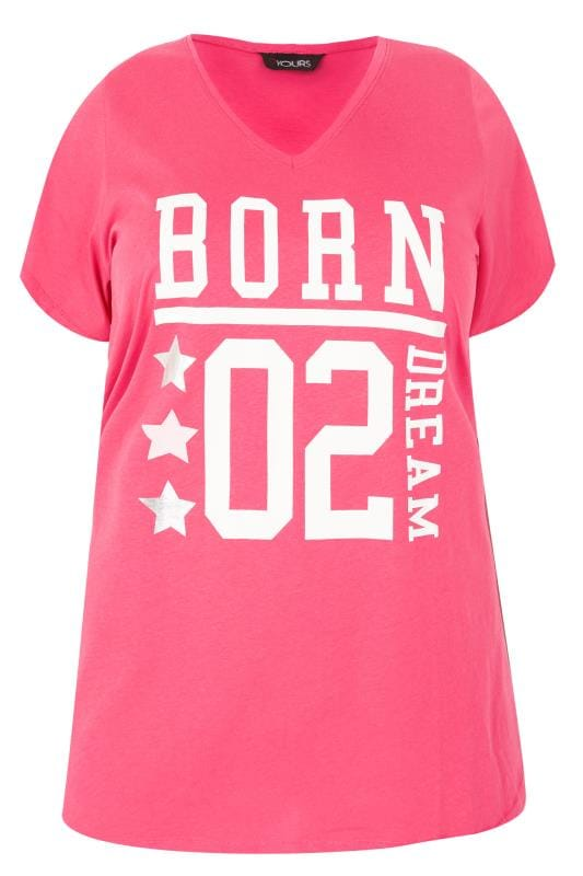Grote maten Grote maten Pyjama's Pink 'Born To Dream' Pyjama Top