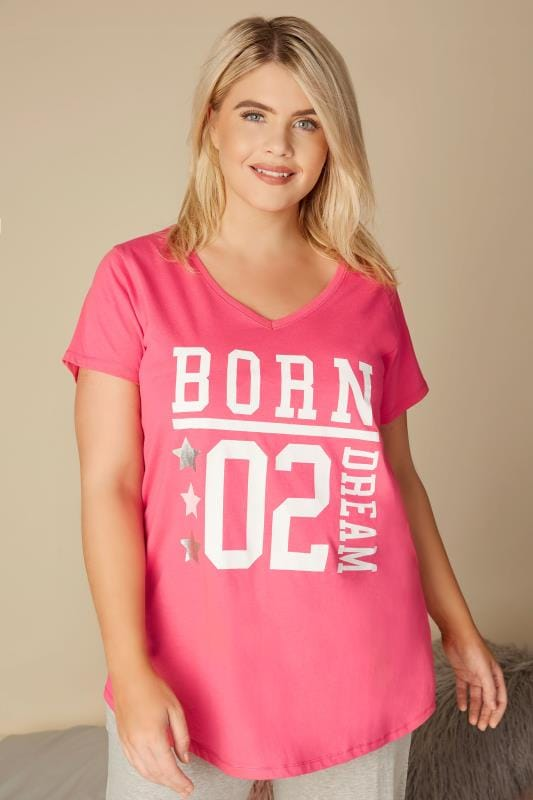 Plus Size Pyjamas Pink 'Born To Dream' Pyjama Top