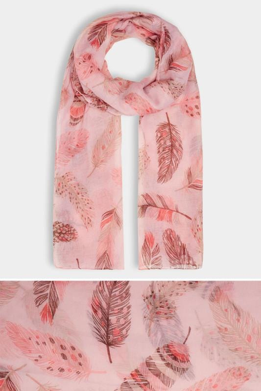 Grote maten Sjaals Pink & Brown Feather Print Scarf