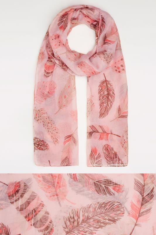 Pink & Brown Feather Print Scarf