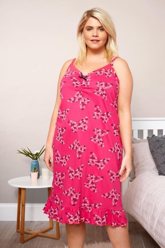 Plus Size Nightdresses & Chemises Pink Butterfly Chemise