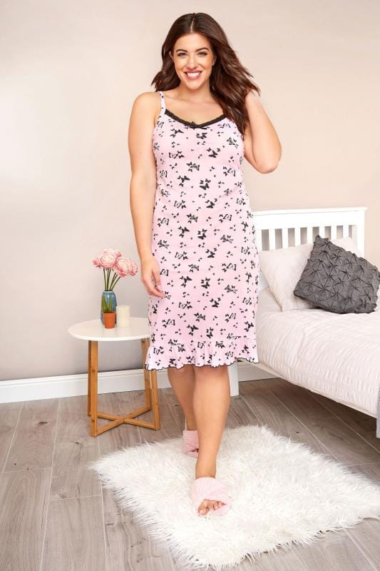 Plus Size Nightshirts Pink Butterfly Lace Chemise