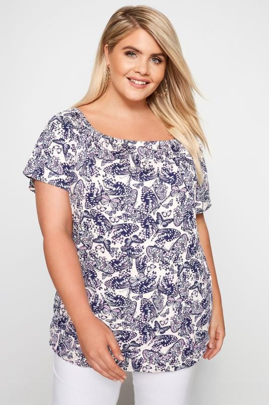 Plus Size Bardot & Cold Shoulder Tops Pink Butterfly Print Bardot Top With Bubble Hem