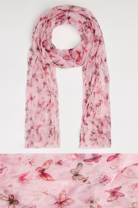 Pink Butterfly Print Crinkled Scarf