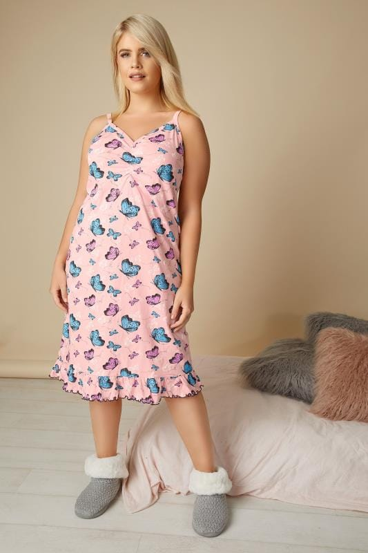 Pink Butterfly Print Frilled Nightdress