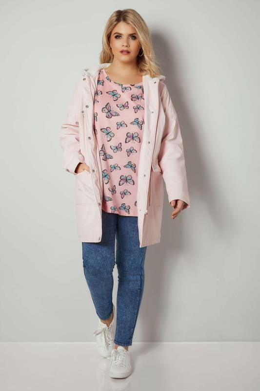 Pink Butterfly Print Mock Pocket T-Shirt With Curved Hem