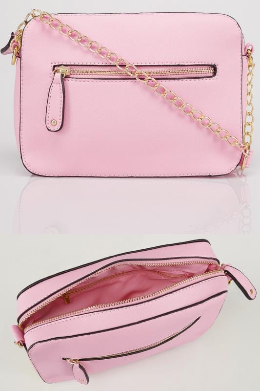 Pink Camera Bag With Cross Body Chain